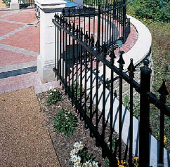 metal ornamental fencing, decorative metal fence panels, ornamental iron fences, monumental iron works fences